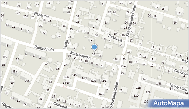 Sosnowiec, Mazowiecka, 3/I, mapa Sosnowca