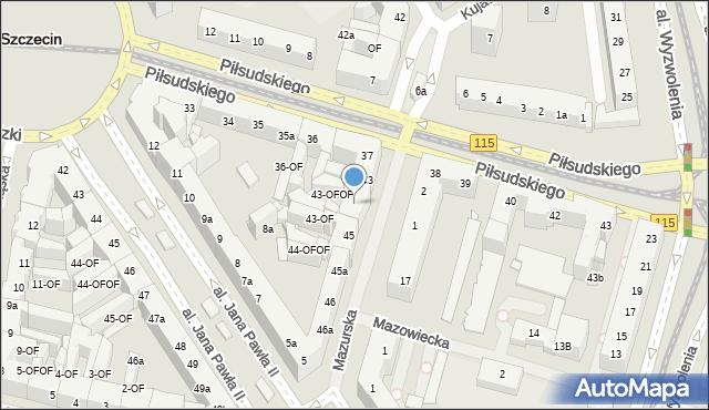Szczecin, Mazurska, 44, mapa Szczecina