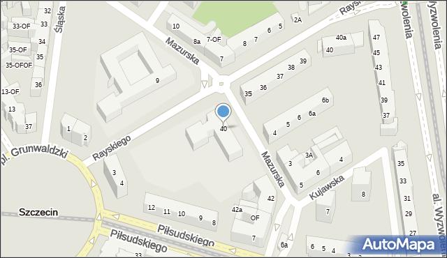 Szczecin, Mazurska, 40, mapa Szczecina
