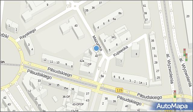 Szczecin, Mazurska, 42, mapa Szczecina