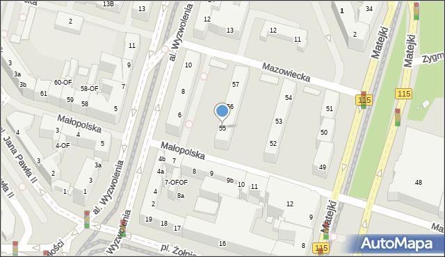 Szczecin, Małopolska, 55, mapa Szczecina