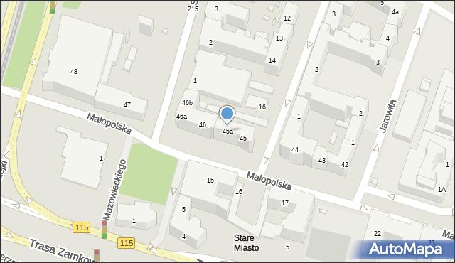 Szczecin, Małopolska, 45a, mapa Szczecina