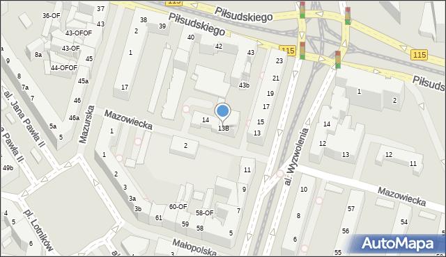Szczecin, Mazowiecka, 13B, mapa Szczecina