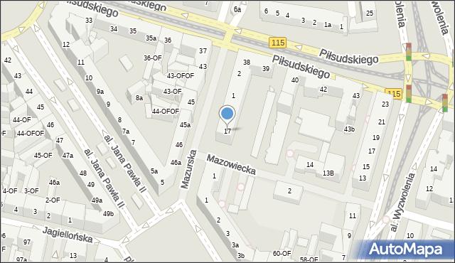 Szczecin, Mazowiecka, 17, mapa Szczecina