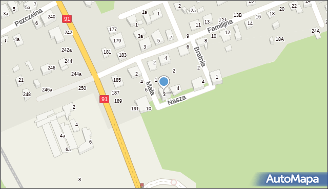 Toruń, Mała, 3, mapa Torunia