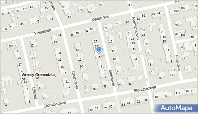 Toruń, Malwowa, 15, mapa Torunia