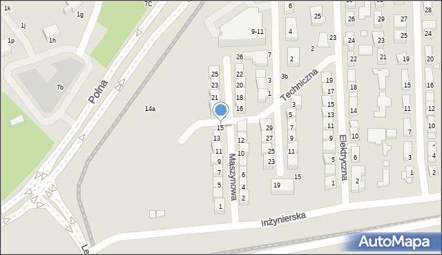 Toruń, Maszynowa, 15, mapa Torunia