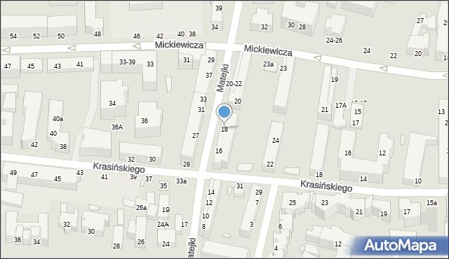 Toruń, Matejki Jana, 18, mapa Torunia