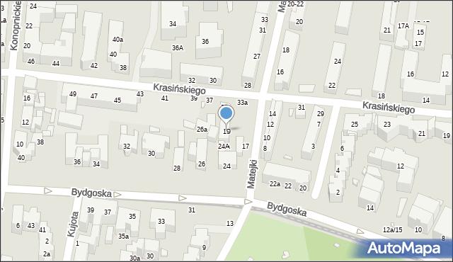 Toruń, Matejki Jana, 19, mapa Torunia