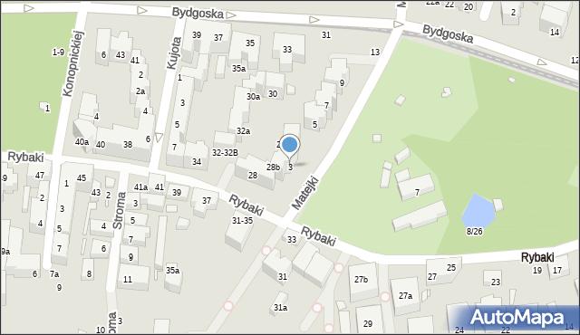 Toruń, Matejki Jana, 3, mapa Torunia