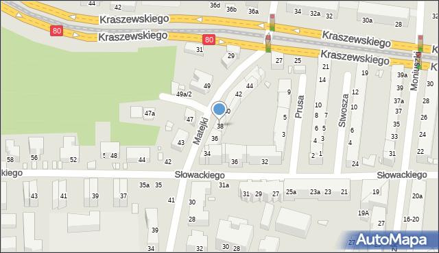 Toruń, Matejki Jana, 38, mapa Torunia