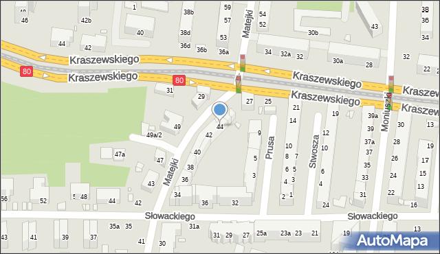 Toruń, Matejki Jana, 44, mapa Torunia