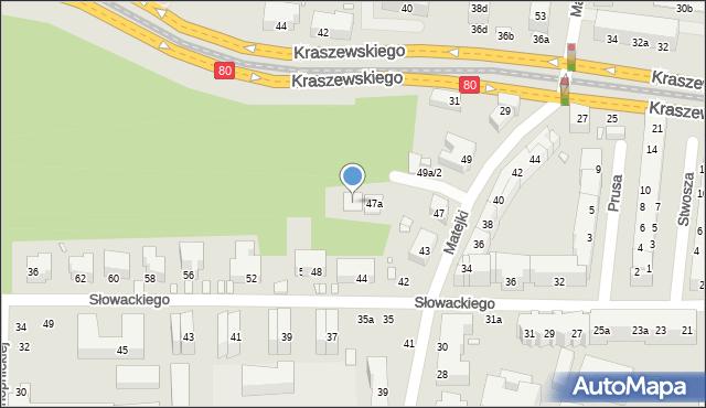 Toruń, Matejki Jana, 47b, mapa Torunia