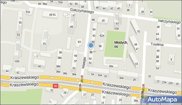 Toruń, Matejki Jana, 56, mapa Torunia