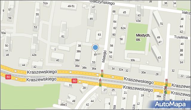 Toruń, Matejki Jana, 57, mapa Torunia