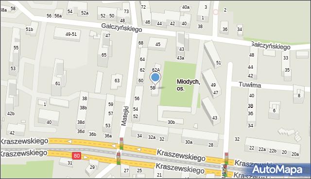 Toruń, Matejki Jana, 58a, mapa Torunia