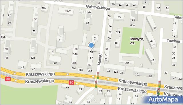 Toruń, Matejki Jana, 59, mapa Torunia