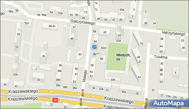 Toruń, Matejki Jana, 60, mapa Torunia