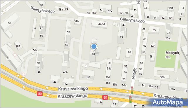 Toruń, Matejki Jana, 61, mapa Torunia