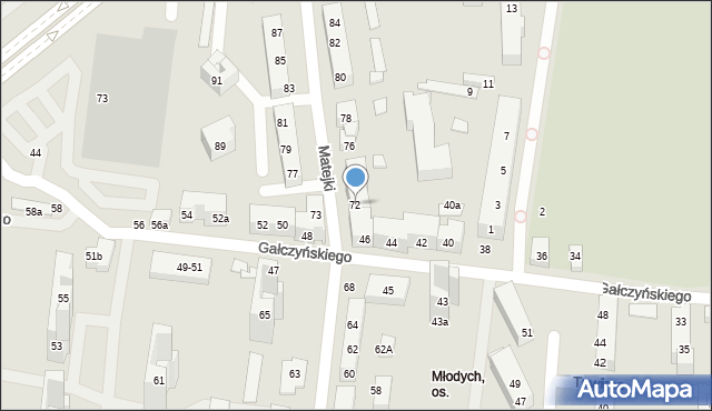Toruń, Matejki Jana, 72, mapa Torunia
