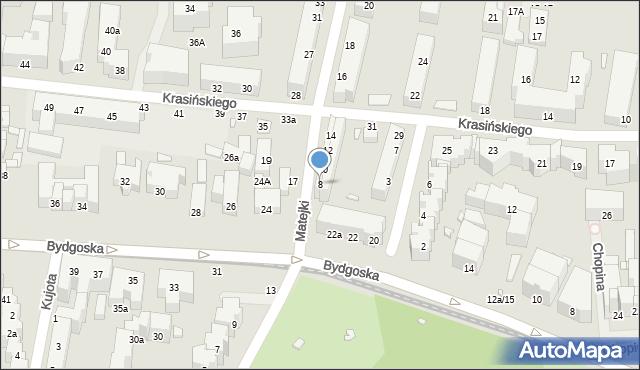 Toruń, Matejki Jana, 8, mapa Torunia