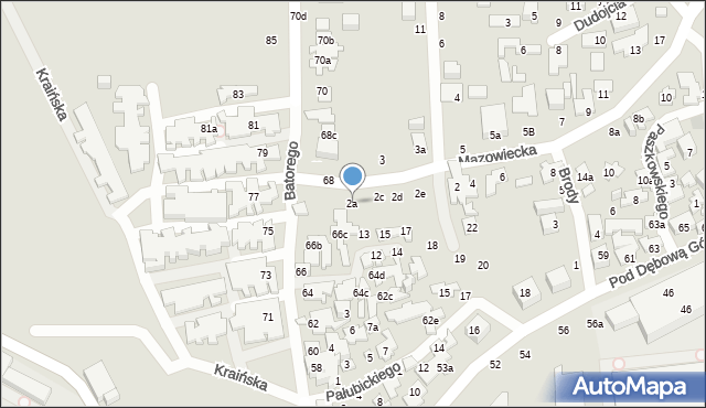Toruń, Mazowiecka, 2a, mapa Torunia