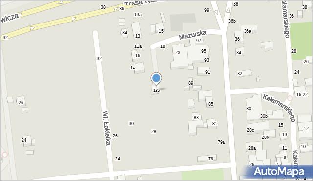 Toruń, Mazurska, 18a, mapa Torunia