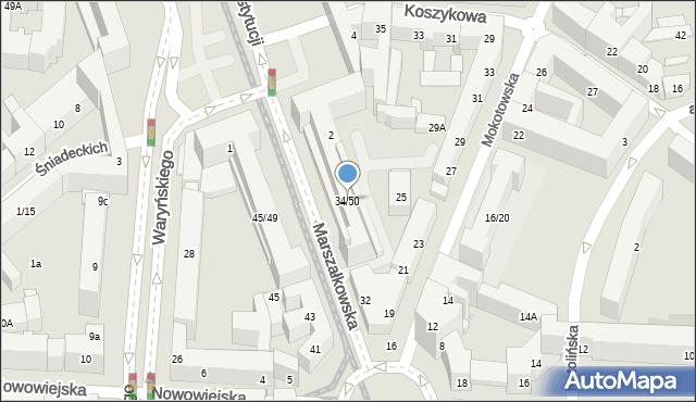 Warszawa, Marszałkowska, 34/50, mapa Warszawy