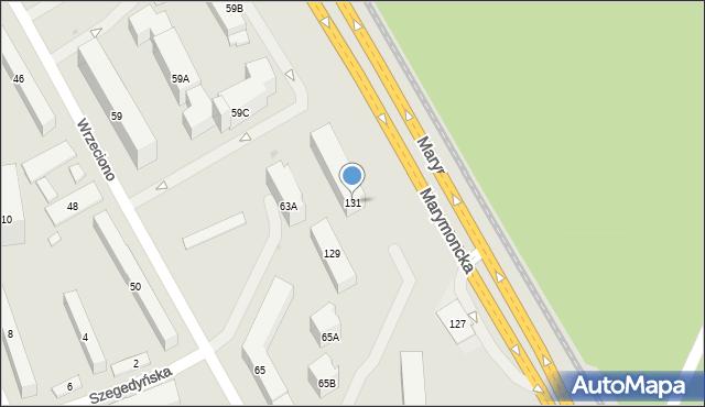 Warszawa, Marymoncka, 131, mapa Warszawy