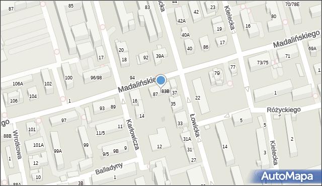 Warszawa, Madalińskiego Antoniego Józefa, gen., 85, mapa Warszawy