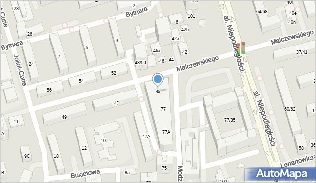 Warszawa, Malczewskiego Antoniego, 45, mapa Warszawy