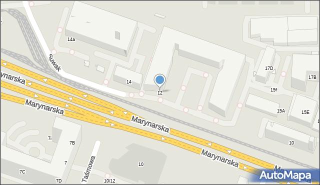 Warszawa, Marynarska, 12d, mapa Warszawy