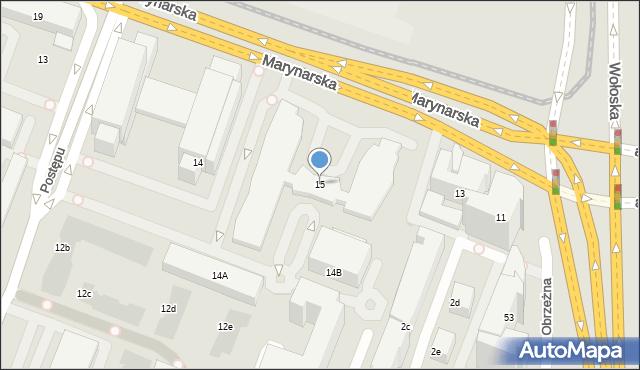Warszawa, Marynarska, 15, mapa Warszawy