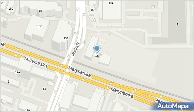Warszawa, Marynarska, 2/6, mapa Warszawy