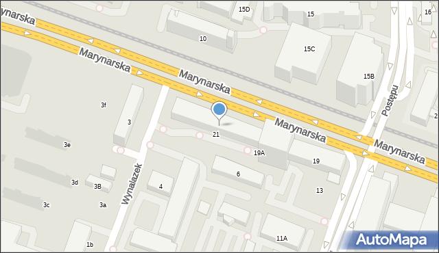 Warszawa, Marynarska, 21, mapa Warszawy