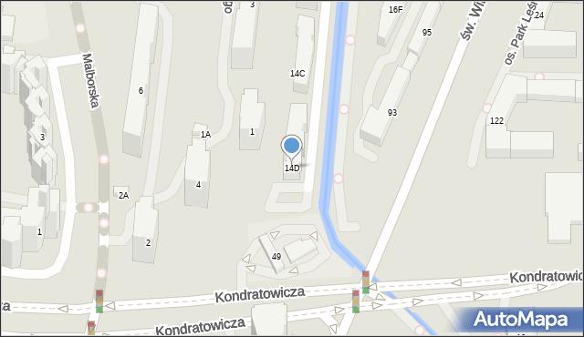 Warszawa, Malborska, 14D, mapa Warszawy