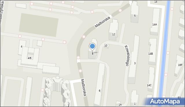 Warszawa, Malborska, 8, mapa Warszawy