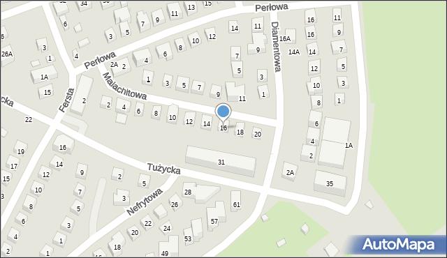 Warszawa, Malachitowa, 16, mapa Warszawy