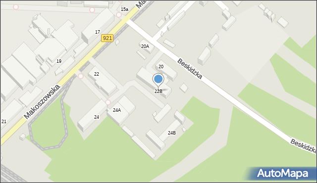 Zabrze, Makoszowska, 22B, mapa Zabrza