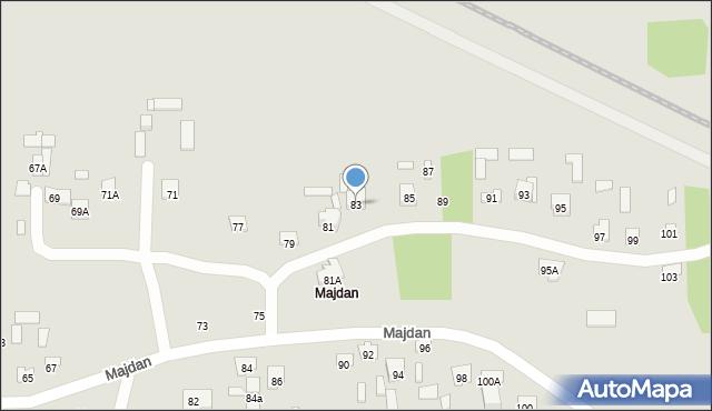 Zamość, Majdan, 83, mapa Zamościa