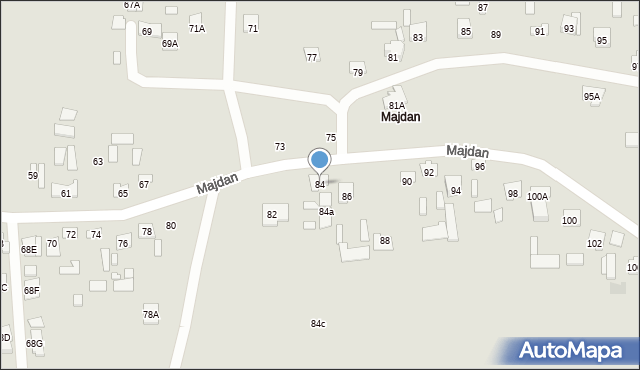 Zamość, Majdan, 84, mapa Zamościa
