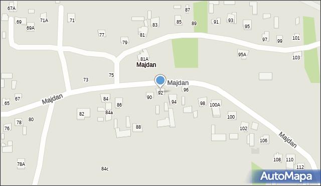 Zamość, Majdan, 92, mapa Zamościa