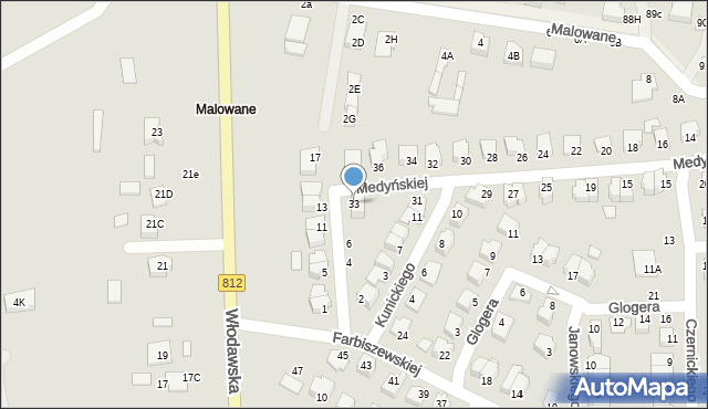 Chełm, Medyńskiej Jadwigi, 33, mapa Chełma