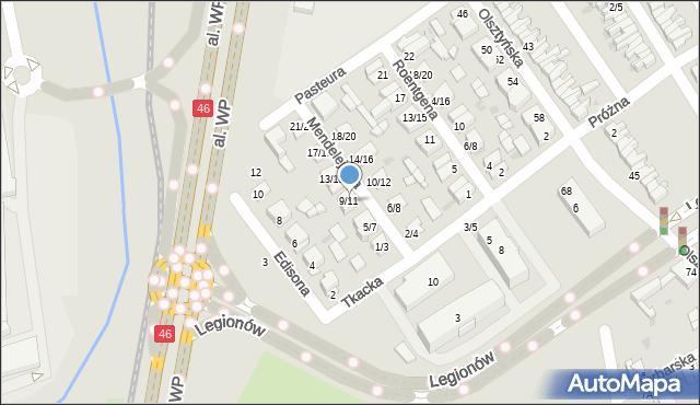 Częstochowa, Mendelejewa Dymitra, 9/11, mapa Częstochowy