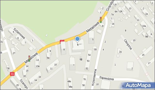 Szczecin, Metalowa, 6, mapa Szczecina