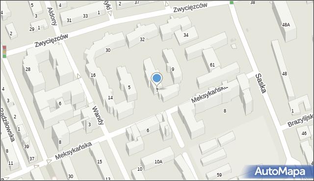 Warszawa, Meksykańska, 7, mapa Warszawy