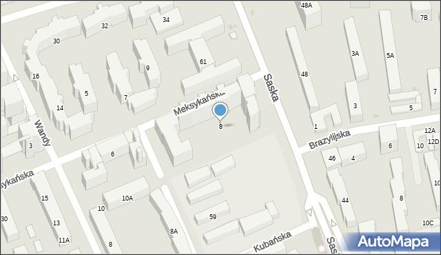 Warszawa, Meksykańska, 8, mapa Warszawy