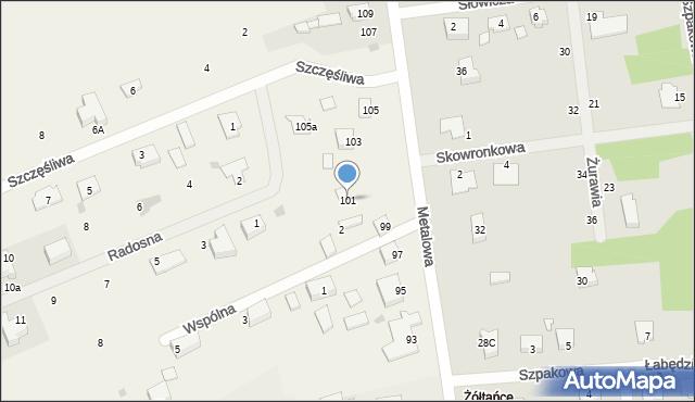 Żółtańce-Kolonia, Metalowa, 101, mapa Żółtańce-Kolonia