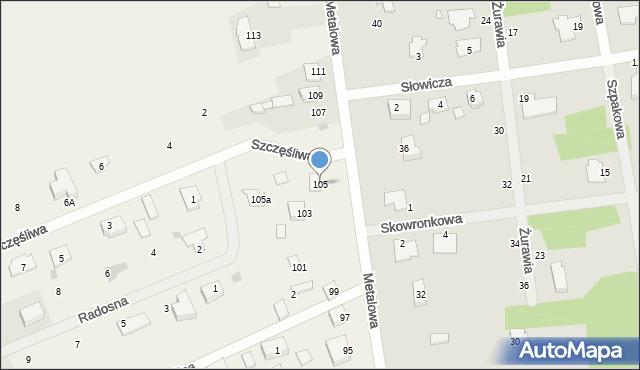 Żółtańce-Kolonia, Metalowa, 105, mapa Żółtańce-Kolonia