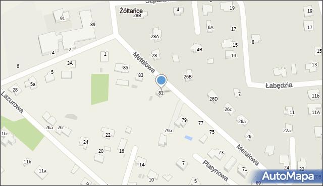 Żółtańce-Kolonia, Metalowa, 81, mapa Żółtańce-Kolonia